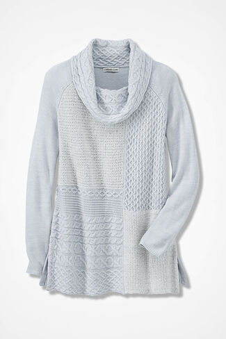 Stitchwork Potpourri Tunic Sweater, Light Heather Grey, large