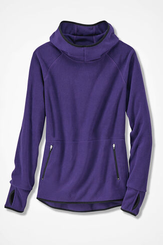 Microfleece Hooded Pullover, Dark Purple, large