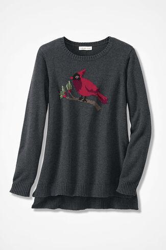 Cardinal Intarsia Sweater, Charcoal, large