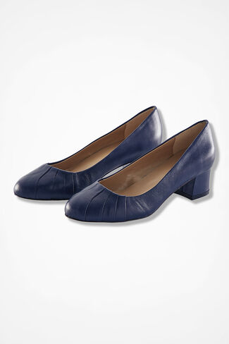 """Uptown"" Leather Pumps by Walk with Me™, Navy, large"