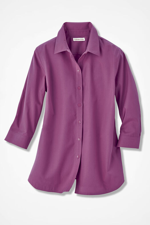 Three-Quarter Sleeve Easy Care Shirt, Azalea, large