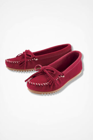 """""""Kilty"""" Suede Moccasins by Minnetonka®, Red, large"""