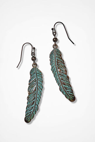 Past Times Patina Feather Earrings, Bronze, large