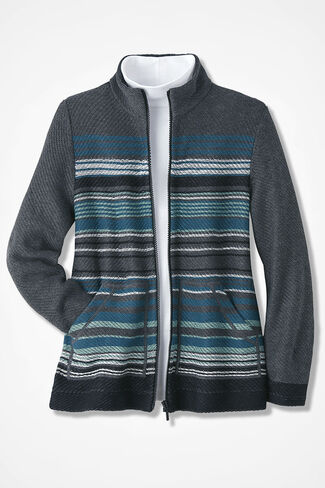 Serape Stripe Zip Cardigan, Charcoal, large