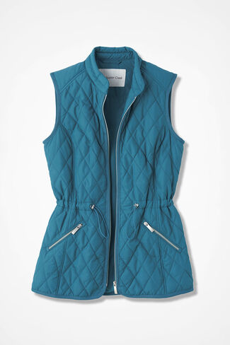Quilted Drawstring Vest, Mallard Blue, large