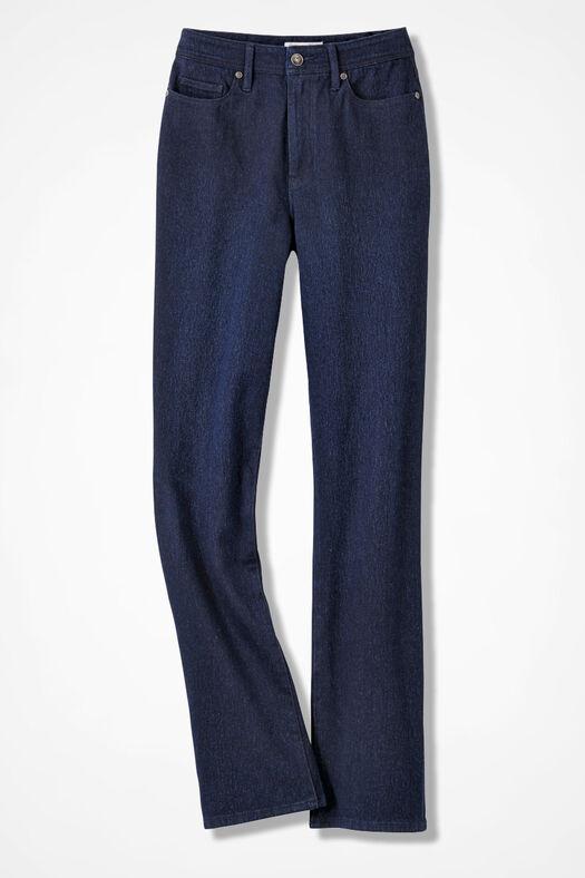 Knit Denim Bootcut Jeans, Dark Wash, large