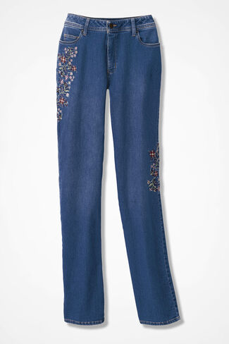 The Creek® Embroidered Flower Jeans, Medium Wash, large