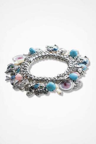 Coastal Charms Stretch Bracelet, Blue Multi, large