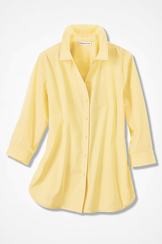 Three-Quarter Sleeve Easy Care Shirt, Sunlight, large