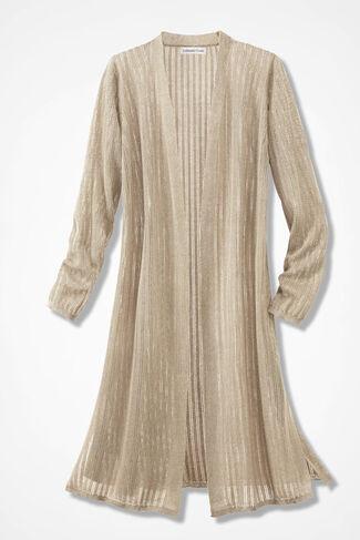 Illusion Ribbed Sheer Duster Sweater, Brushed Khaki, large