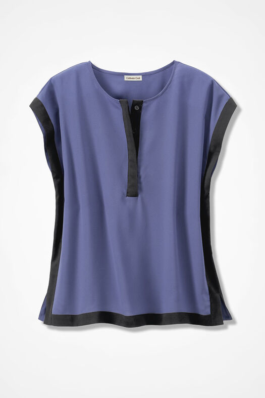Bold Borders Silky Blouse, Thistle, large