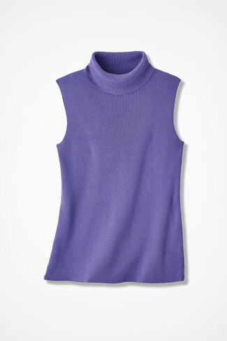 Sleeveless Classic Turtleneck, Dahlia Purple, large