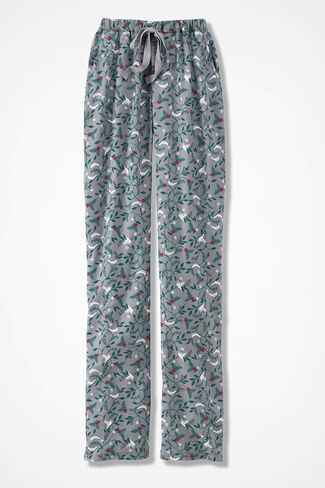 Winter Doves Print Flannel PJ Pants, Grey Multi, large