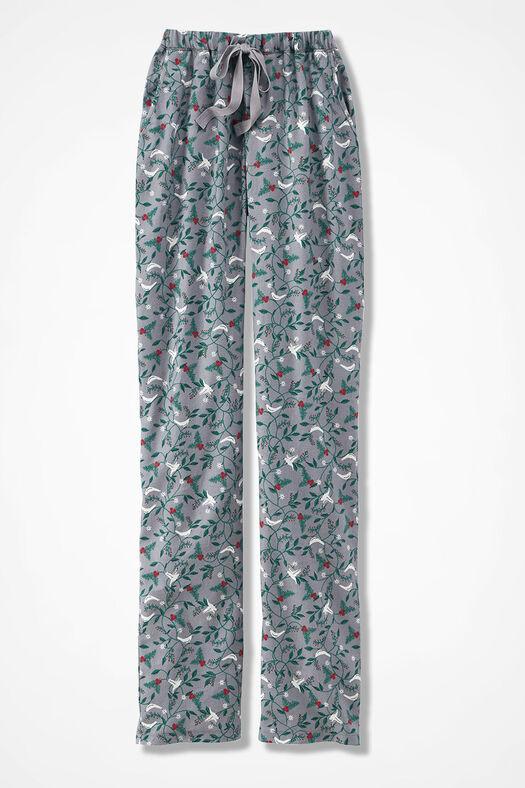 Winter Doves Print Flannel PJ Pants, Grey Multi, large