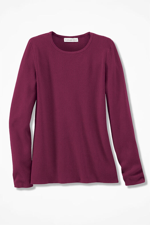 Long Sleeve Ribbed Sweater, Garnet, large