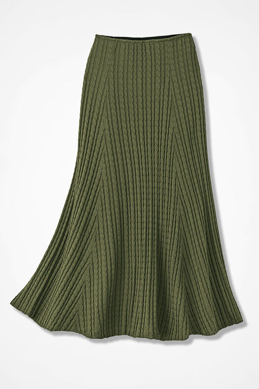 Cable Knit Skirt, Cypress, large