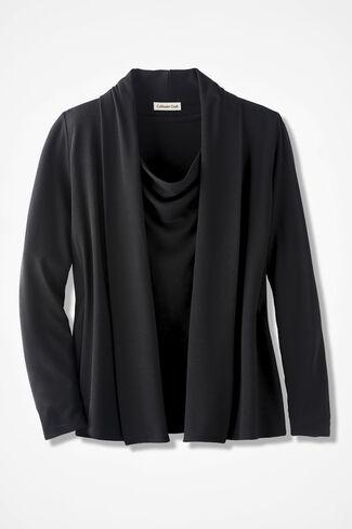 Soft Drape Cardigan, Black, large