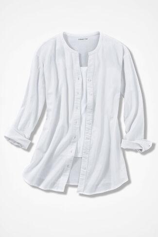 Crinkle Cotton Big Shirt, White, large