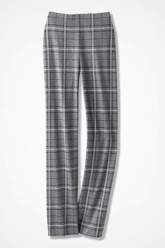 Ponte Perfect® Plaid Holly Pants, Heather Grey Multi, large