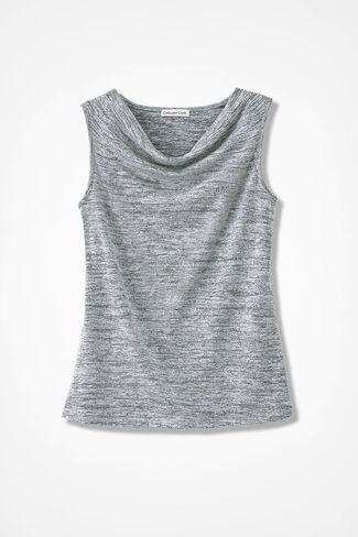 Drape-Neck Shell, Silver, large
