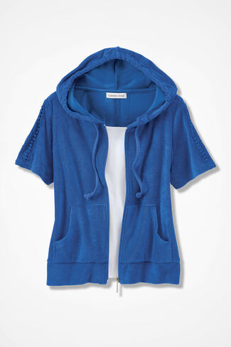 Time for Terry Zip Cardigan, Cobalt, large