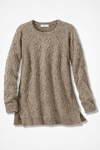 Gently Cabled Crewneck Sweater, Camel, large