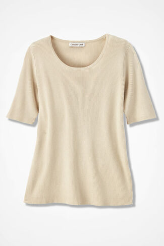 Elbow-Sleeve Ribbed Sweater, Vanilla, large