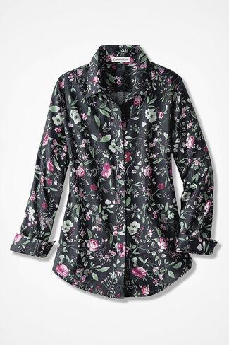 Rose Romance Easy Care Shirt, Black Multi, large