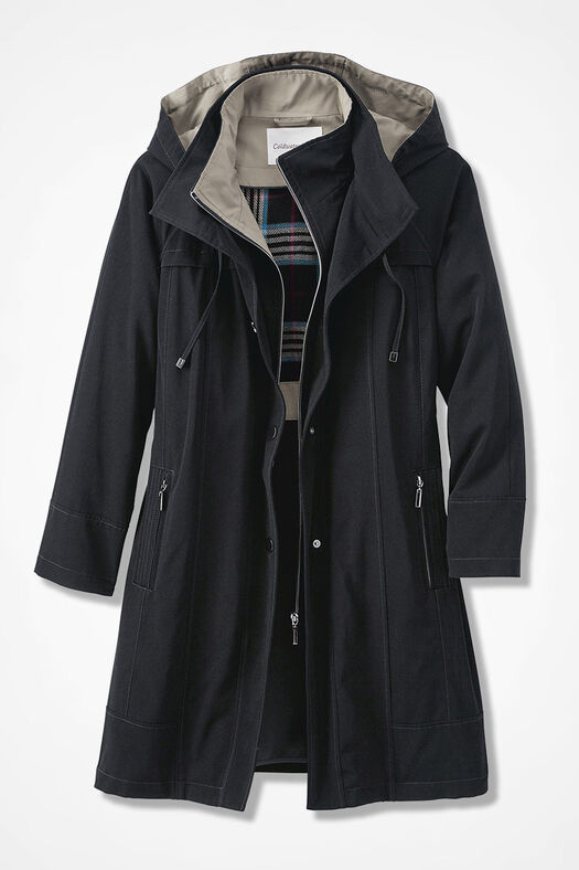 All-Season Long Coat, Black, large
