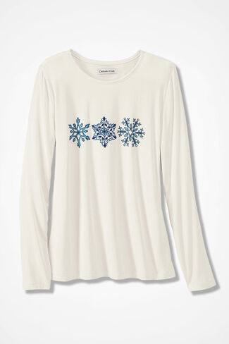 Snowflake Knit PJ Top, Ivory, large