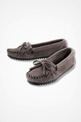 """Kilty"" Suede Moccasins by Minnetonka®, Grey, large"