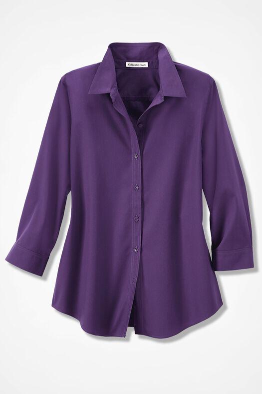Three-Quarter Sleeve Easy Care Shirt, Plum, large