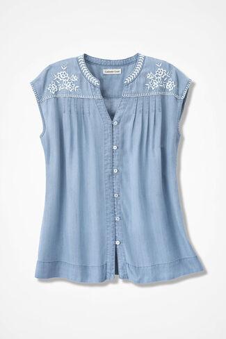 Embroidered Tencel® Blouse, Light Indigo, large