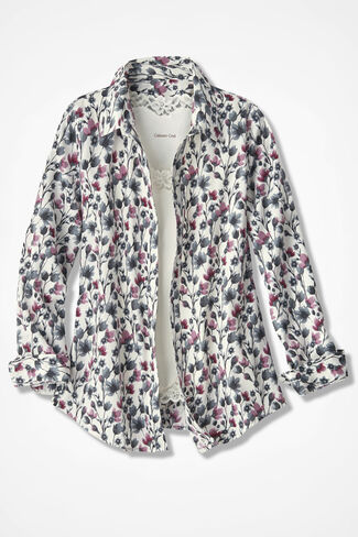 Soft Focus Floral Easy Care Shirt, Ivory/Garnet, large