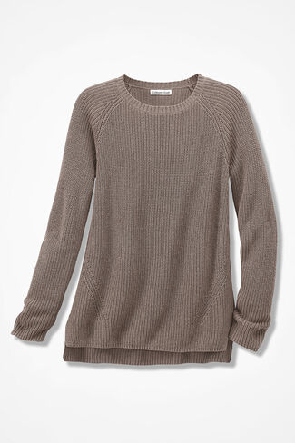 NEW! Shaker High/Low Pullover, Mocha, large