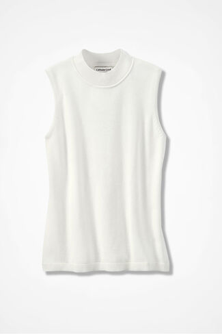 Day-to-Day Sleeveless Mockneck, Ivory, large
