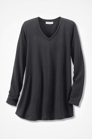 Essentially Yours Solid Swing Knit Tunic, Black, large