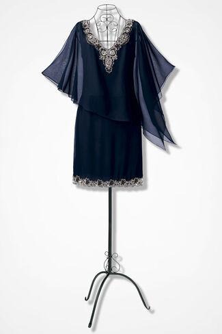 Asymmetrical Capelet Dress by JKara™, Navy, large