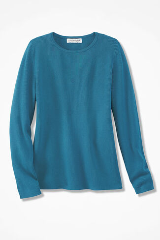 Long-Sleeve Ribbed Sweater, Mallard Blue, large