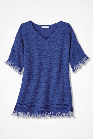 Fringe Delight Sweater, Iris Blue, large