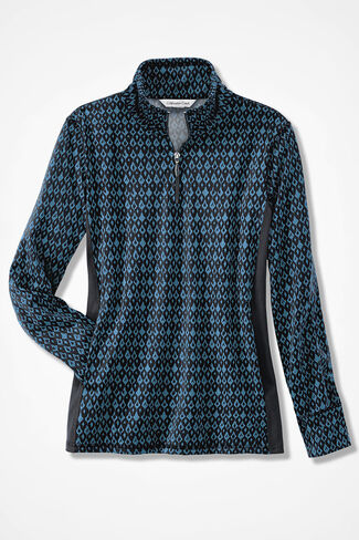 Spirit Song Zip-Neck Pullover, Peacock, large