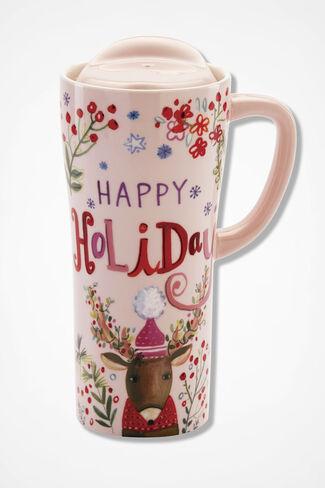 Holiday Ceramic Travel Mug, Pink, large