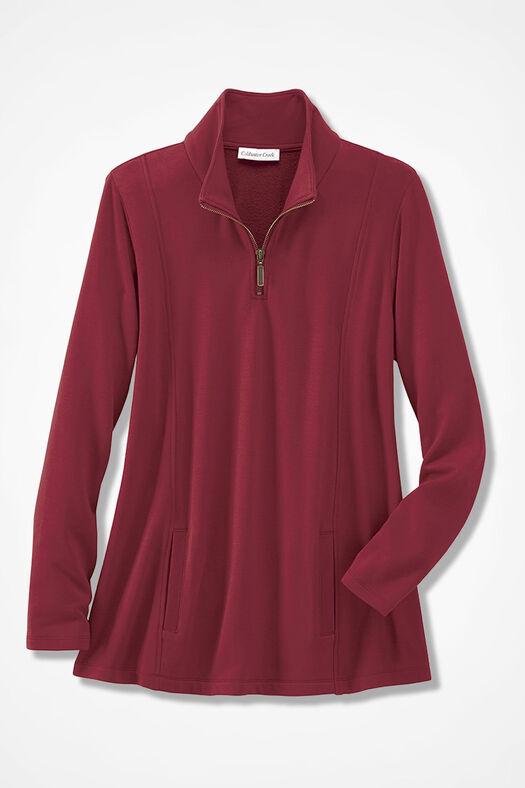 Superbly Soft Fleece Zip-Neck Pullover, Rust, large