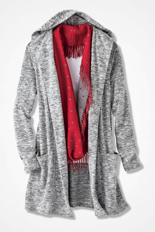 Dream-Soft Plush Hooded Duster, Mid Heather Grey, large