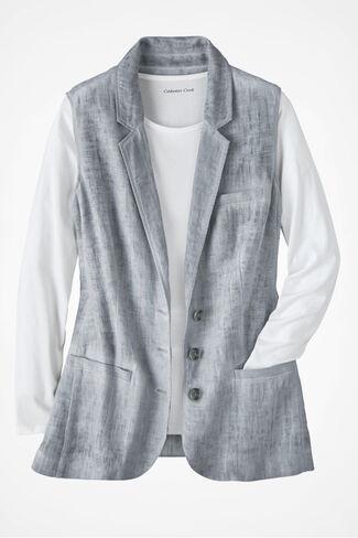 Great Lengths Linen Vest, Dove Grey, large