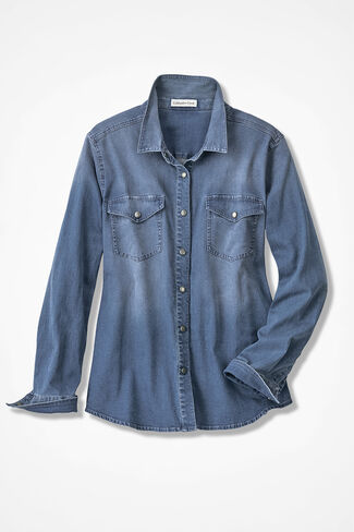True Blue Denim Shirt, Light Wash, large