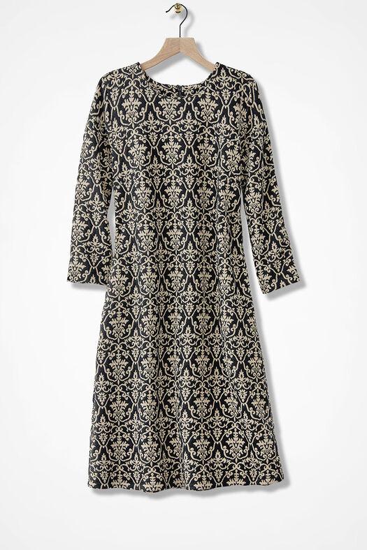 Damask Drama Knit Dress, Black Multi, large