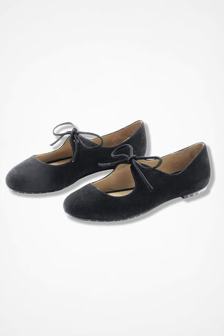"""Casey"" Lace-Up Suede Flats by Me Too®, Black, large"