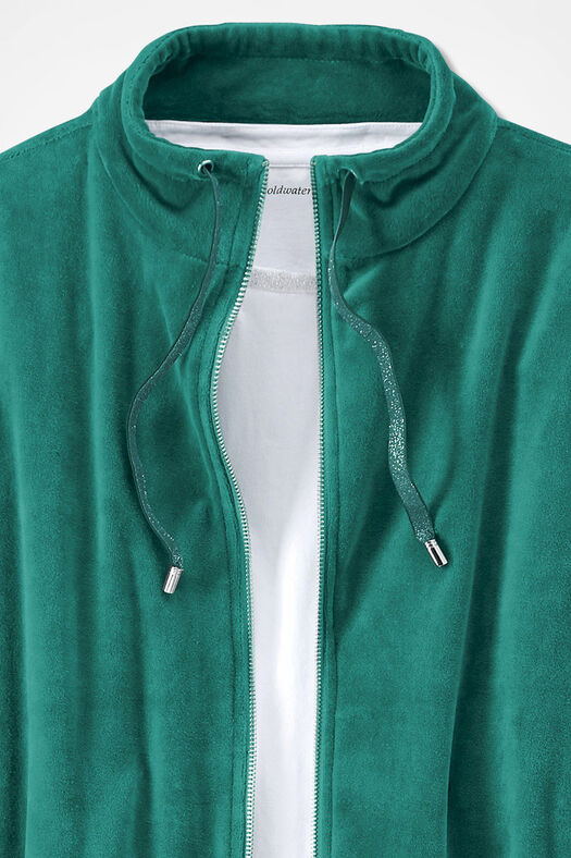 Velour du Jour Shirttail Jacket, Emerald, large