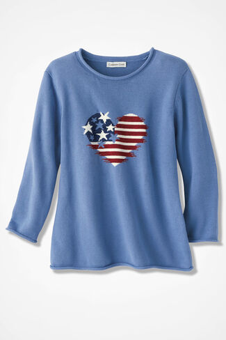Dear Heart Flag Sweater, Antique Blue, large